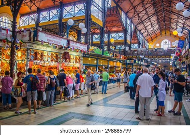 BUDAPEST, HUNGARY, JULY 30, 2014: People are doing their groceries inside of the biggest marketplace in budapest.