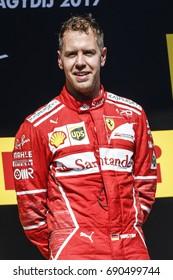 Budapest, Hungary. July 30, 2017. F1 Grand Prix of Hungary. Sebastian Vettel, Ferrari driver, on the podium after the victory.