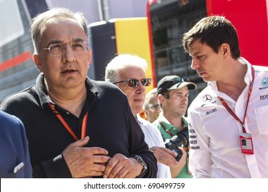 Budapest, Hungary. July 30, 2017. F1 Grand Prix of Hungary. Sergio Marchionne, president of Ferrari, with Piero Ferrari, son of Enzo, and Toto Wolff, team manager Mercedes.