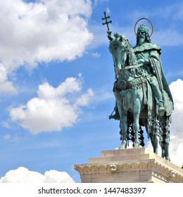 Budapest, Hungary, - July 6, 2019: Bronze Statue of Stephen I of Hungary. Fisherman's Bastion, Castle District,.