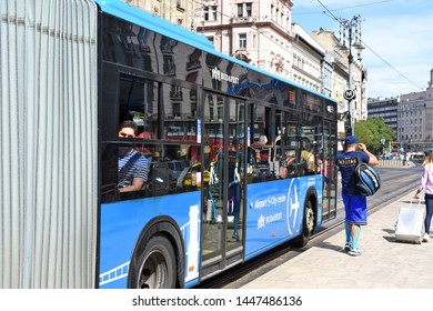 Budapest, Hungary, - July 6, 2019: City bus on the route.