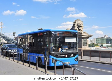 Budapest, Hungary, - July 6, 2019: City bus on the route. Electric drive vehicles, Electric bus  .