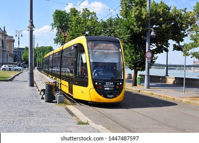 Budapest, Hungary, - July 6, 2019: A modern tram on the streets of the city.