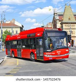 Budapest, Hungary, - July 6, 2019: Solaris Trollino 12 (Solaris T12) - A 12-meter low-floor trolley for urban transportation.