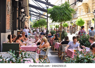 Budapest, Hungary, - July 6, 2019 : Tables restaurant on the streets of the city