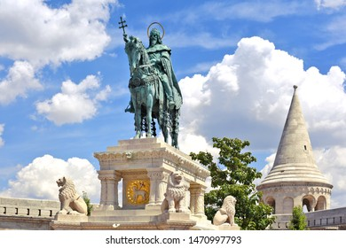 Budapest, Hungary - July 6, 2019: Bronze Statue of Stephen I of Hungary. Fisherman's Bastion, Castle District,