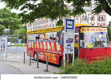 Budapest, Hungary - July 6, 2019: BUDAPEST HOP ON HOP OFF - BUS TOURS.
