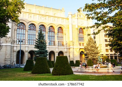 BUDAPEST, HUNGARY - JULY 7, 2013: Vigado Concert Hall and Square (Vigado Ter) located on the Eastern bank of the Danube in Budapest, Hungary