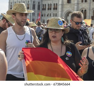 BUDAPEST, HUNGARY - JULY 8., 2017: Unidentified people take part of the 22. Budapest Gay Pride parade to support the LGBT rights.