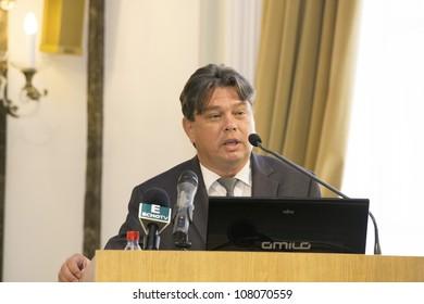 BUDAPEST, HUNGARY - JULY 9: Miklos Csomos  deputy mayor of Budapest speaks on the opening ceremony of the Carpathian Summer University organised by ELTE University on July 9, 2012, Budapest