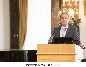 BUDAPEST, HUNGARY - JULY 9: Tibor Navracsics vice prime minister of Hungary, leader of FIDESZ Fraction on the opening ceremony of the Carpathian Summer University org by ELTE Univ. on July 9, 2012.