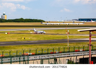 Budapest Hungary Jun. 11, 2021: A Buz. Jet taxiing from runway to parking at  Liszt F.  International airport.
