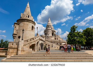 Budapest, Hungary - Jun 17  2018: People visiting the Fisherman's Bastion at the heart of Buda's Castle District in Budapest,Hungary