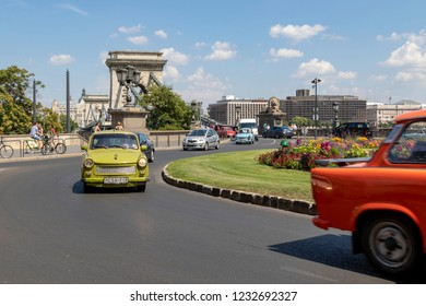 Budapest, Hungary - Jun 17, 2018: Old East German car, Trabant, parked on a street in Budapest. Popular vehicle in East Germany and the former eastern bloc.