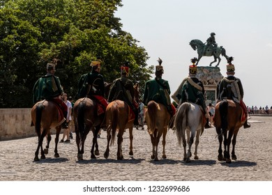 Budapest, Hungary - JUN 17, 2018: Hussars on horses near Buda Castle. Hussar cavalry lineup in traditional festive uniform. This is a special tourist attraction.