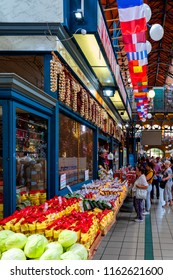 Budapest Hungary - Jun 20, 2018: People shopping in the Grand Market Hall. Great Market Hall is the largest indoor market in Budapest, it was built in 1896 still in full glory.