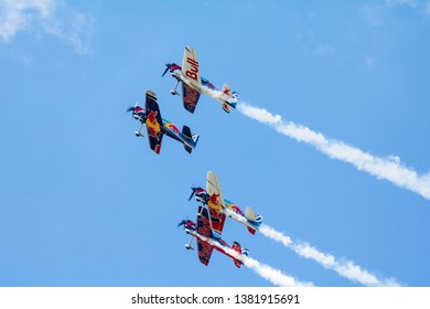 BUDAPEST, HUNGARY - JUN 26, 2018: The qualifying session of the Red Bull Air Race World Championship 2018
