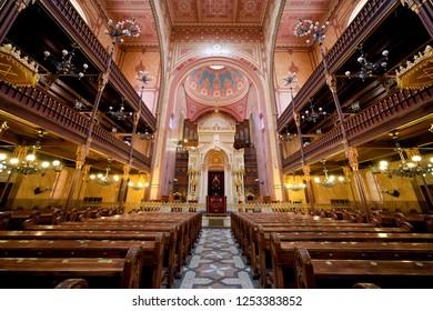 Budapest, Hungary - June 04, 2012: The Great Synagogue (Dohany Street Synagogue) interior, city landmark.
