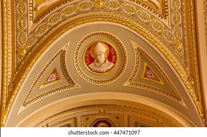 BUDAPEST, HUNGARY - JUNE 10, 2016 Albert the Great Albert Magnus Statue Famous German Bishop Saint Stephens Cathedral Budapest Hungary.  Cathedral built in 1800s consecrated 1905.