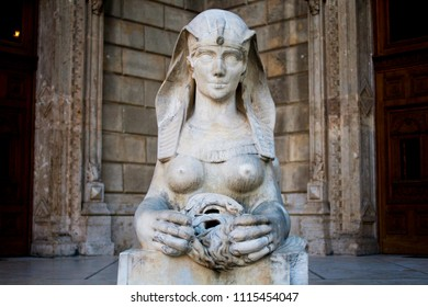 Budapest, Hungary. June, 10, 2017. A sphinx statue outside the Hungarian State Opera House in Budapest, Hungary. Front view.