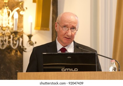 BUDAPEST, HUNGARY - JUNE 10: Prof. Istvan Kukorelli exppert, former Constitutional Court judge on the Conference about the Amendment to the Constitution in ELTE on June 10, 2011 in Budapest, Hungary.