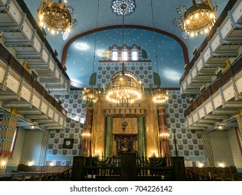 Budapest, Hungary - June 11, 2017 : Interior of Kazinczy Street Orthodox Synagogue, built in 1913 in Art Nouveau style