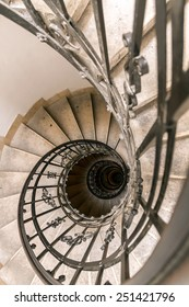 Budapest, Hungary - June 15, 2012. Curls of on the rise spiral staircase to the tower of the cathedral of Budapest, capital of Hungary