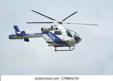 Budapest, Hungary - June 17 2019: R903 Hungary Police helicopter McDonnell Douglas MD-902 Explorer II patroling in the air