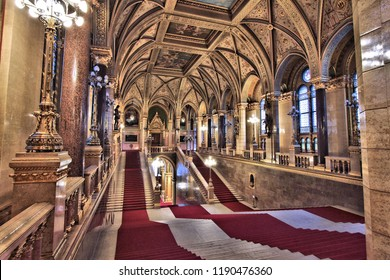 BUDAPEST, HUNGARY - JUNE 19, 2014: Interior view of Parliament Building in Budapest. The building was completed in 1905 and is in Gothic Revival style.