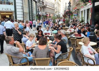 BUDAPEST, HUNGARY - JUNE 19, 2014: People visit Vaci Street in Budapest. 3.3 million people live in Budapest Metropolitan Area. It is the largest city in Hungary and 9th largest in the EU.