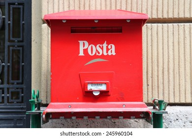 BUDAPEST, HUNGARY - JUNE 19, 2014: Post box of Hungarian Post (Magyar Posta) in Budapest. Magyar Posta employed 32,335 people in 2013.