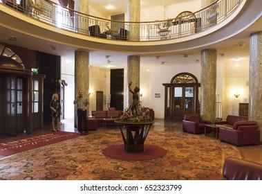 Budapest, Hungary - June 2, 2017: Interior of the Danubius Hotel Gellert, a historic Art Nouveau hotel on the river Danube in Budapest, Hungary, opened in 1918.