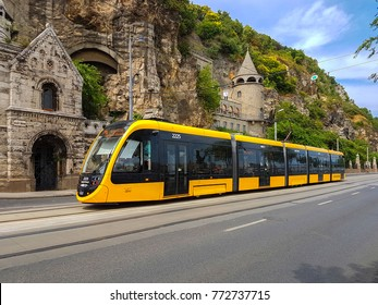 BUDAPEST, HUNGARY - June, 2017: The modern yellow tram in Budapest Hungary