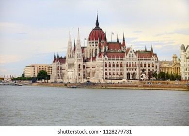 BUDAPEST, HUNGARY - JUNE 22, 2018: Hungarian Parliament Building in Budapest , Hungary