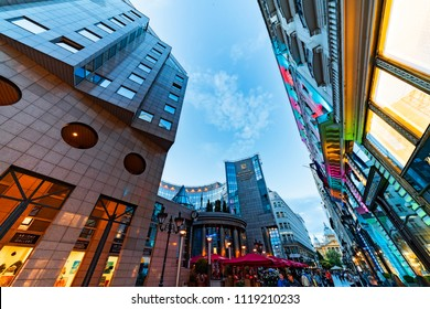 Budapest, Hungary - June 23, 2018: Contemporary building of Hotel Corvinus Kempinski on Fashion street, a  5 star luxury resort in Budapest downtown.