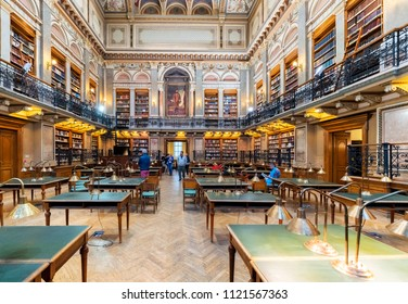 BUDAPEST, HUNGARY - JUNE 23, 2018: Interior of ELTE Central University Library. Eotvos Lorand University (ELTE) is the largest and oldest university in Hungary.