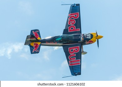 Budapest, Hungary - June 23, 2018. Peter Besenyei Aerobatic display at the Red Bull Air Race World Championships 2018