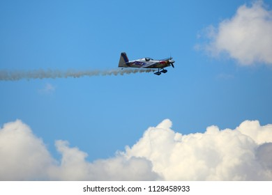 BUDAPEST, HUNGARY - JUNE 23, 2018: Red Bull Air Race World Championship in the center of capital city Budapest at Hungary