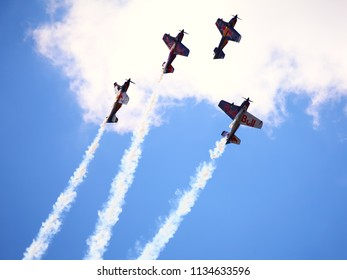 BUDAPEST, HUNGARY - JUNE 23, 2018: A group of  aircrafts flies over the Danube river, during an open for the public air show at the city of Budapest.