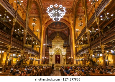 Budapest, Hungary - June 23, 2018: Interior in the Dohany Street Synagogue (Great Synagogue), largest synagogue in Europe and the second largest in the world.