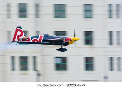 Budapest, Hungary - June 23, 2018: Martin Sonka in Zivko Edge 540 at Red Bull Air Race (The World Air Sports Federation event)