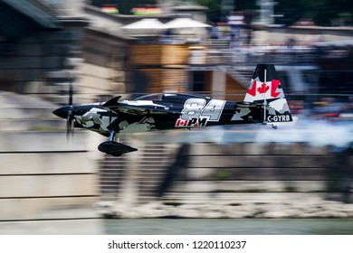 BUDAPEST / HUNGARY - JUNE 24, 2018: Pete Mcleod flying at Red Bull Air Race Budapest