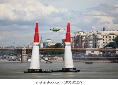 BUDAPEST, HUNGARY - JUNE 24, 2018: Light Sport Aircraft flies over the Danube river, during an open for the public air show at the city of Budapest.