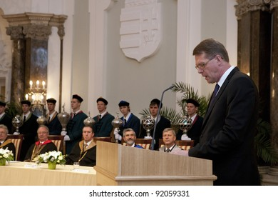 BUDAPEST, HUNGARY - JUNE 25: Matti Taneli Vanhanen Finnish politician, former Prime Minister of Finland and Chairman of the Centre Party visits the ELTE Univ. on June 25, 2010 in Budapest, Hungary.