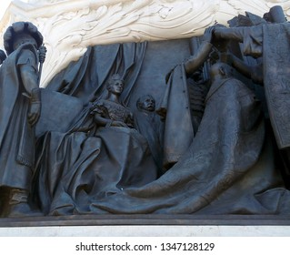 BUDAPEST, HUNGARY - JUNE 26, 2018: Coronation scene relief at the base of the statue of Count Gyula Andrassy. Focus on Empress Elisabeth of Austria, also known as Sisi, or Sissi.
