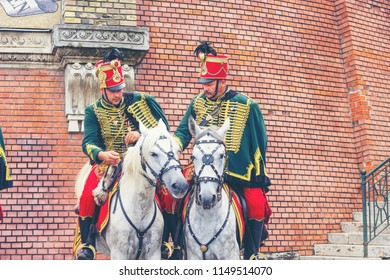 BUDAPEST, HUNGARY - JUNE 27, 2018: Hussars on horses near Buda Castle. Hussar cavalry lineup in traditional festive uniform
