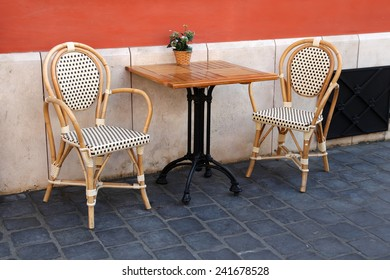BUDAPEST, HUNGARY - JUNE 27:   Street terrace in front of the Cafe & Restaurant. Budapest has many cafes and restaurants all over the city.