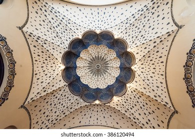 BUDAPEST, HUNGARY - JUNE 29, 2009: Looking up at the painted cupola ceiling upon entering the Danubius hotel Gellert