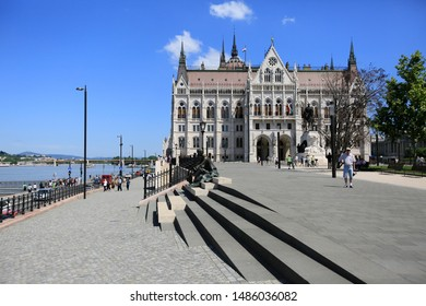 Budapest, Hungary, June 3, 2019. Danube River Embankment and the Hungarian Parliament Building in Budapest