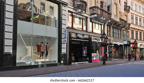 BUDAPEST, HUNGARY - JUNE 3: View of clothes store in Vaci shopping street,  Budapest on June 3, 2016.